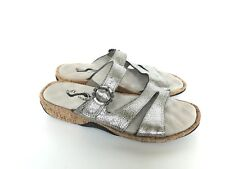 SoftWalk Bermuda Silver Leather Strappy Comfort Slides Sandals Women's 6.5
