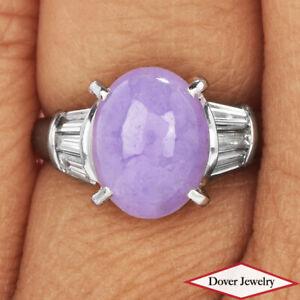 GIA Diamond 4.00ct Lavender Jade Platinum Elegant Solitaire Ring 5.6 Grams NR