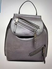 MARC JACOB Moto Marc Jacobs Leather Zip Backpack in Metallic Gray Silver