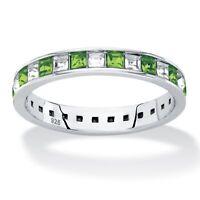 Princess Birthstone .925 Silver Eternity Ring-August-Simulated Peridot