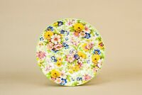 1950s Small Chintz Plate Yellow Floral Dish Retro Vintage Side Bread Saucer