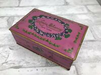 """Vintage Pink Foral Tin Box Louis Sherry New York Weighted Cover Hinged 6x4"""""""
