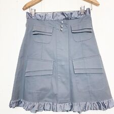 Gloria Coelho Slate Gray Ruffle trim Cargo Skirt Size Small