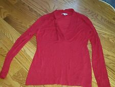 Women's small red banana Republic fitted shirt low v top used