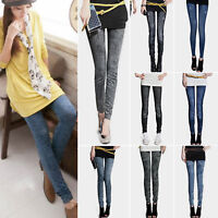 Womens High Waist Pants Slim Skinny Leggings Denim Look Jeggings Pencil Pants