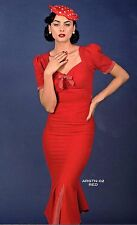 Stop Staring Bombshell Siren Red USA Mid Centuury Salsa Mermaid Wiggle Dress M