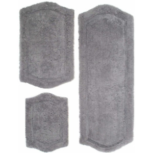 Bath Rug Set Paradise Memory Foam Crafted Polyester Skid Resistant Grey 3 Piece