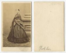 CIVIL WAR ERA LADY IN BEAUTIFUL DRESS, LEWIS? CDV STUDIO PORTRAIT