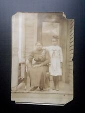 Antique African American Beautiful Mother Daughter RPPC Black Americana