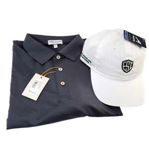 Peter Millar Men's XL Golf Gray Shirt Evans Scholar Hat Summer Comfort Strapback