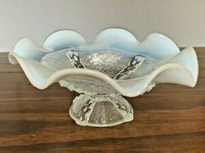 Vintage Fenton Clear Milk Glass Compote Opalescent Ruffled Candy Dish