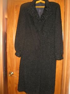 Full-Length Real Astrakhan Fur Black Coat XL - New Without Tags