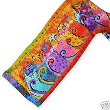 Laurel Burch 100% Silk Oblong Scarf Fantastic Feline Cats With Tales Brights New