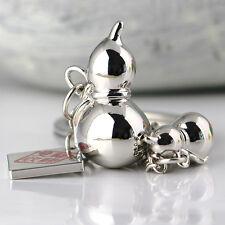 Polished Silver Chinese Style Gourd Keychain Key Chain Ring Keyring Keyfob 85007