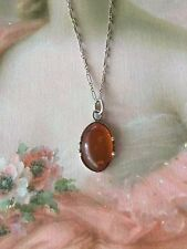 Art Deco vintage Antique old Baltic Amber pendant Sterling Silver chain Necklace