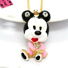 Cute Pink Enamel Baby Mouse Minnie Crystal Pendant Betsey Johnson Chain Necklace