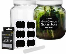 Stock Your Home 64 Oz Glass Jar with Lid, includes Chalk and Labels (2 Pack)