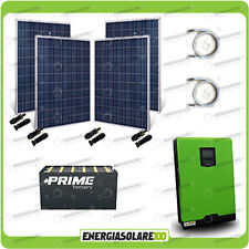 Kit solare fotovoltaico 1KW Inverter onda pura Edison30 3000VA 2400W PWM 50A Bat