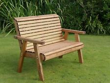 2 Seater Person Wooden Garden Bench Luxury Love Seat Chair Patio Set Treated New