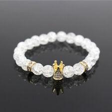 Women Men Micro Pave White CZ Gold King Crown Bracelet Polish White Popcorn Bead
