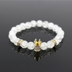 Fashion Micro Pave White CZ Gold King Crown Bracelets Polish White Popcorn Bead