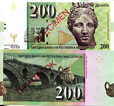 MACEDONIA 200 Denar Fun-Fantasy GABRIS ART Note Specimen 2013 Issue Head/Bridge