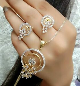 Gold Plated American Diamond Necklace Bracelet Earring Gift Lady Fashion Jewelry