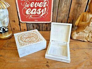 Edle Holz Box 17/13 cm Mangoholz Shabby Deko Gold Kiste Holzkiste Ordnung