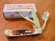 CASE XX New Amber Jigged Bone Handle 3 Blade Hobo Knife/Knives