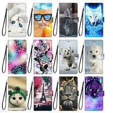 Flower Animals Magnetic Leather Strap Flip Stand Case Cover For Huawei Model