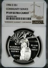 1996-S COMMUNITY SERVICE SILVER PROOF DOLLAR S$1 NGC PF69 ULTRA CAMEO