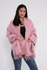 Ladies Autumn Winter Wool Blend Double Face Check with Pocket Baby Pink Stole