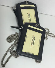 SET OF 2 LEATHER ID BADGE HOLDER ZIPPERED LANYARD WITH NECK CHAIN CARD HOLDER