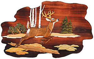 Jumping Deer Hand Crafted Intarsia Wood Art Wall Hanging 26 X 18 X 2.5 Inches