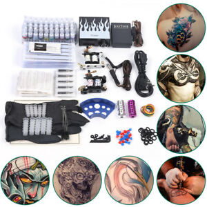 Complete Tattoo Equipes Kit 2 Top Rotary Machine Gun 40 Color Ink 50 Needle