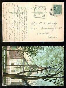 4220 - NEWPORT LANDING NS 1912 Squared Circle on Postcard to USA