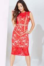 Little Mistress Red Lace Panel Midi Occasion Dress BNWT NEW Multiple Sizes