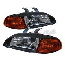 92-95 Honda Civic Eg Door 3Dr Coupe Hatchback 1 Pc Black Amber Corner Headlights