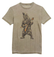 Lucky Brand Mens Olive Green Cotton Bear Guitar Tee T-Shirt Sz Large L 3122-5