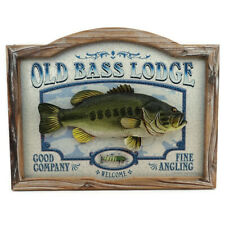 Fishing Wall Picture Old Bass Lodge Rustic Deco 22x17 Mancave Cabin Jon Q Wright