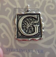 Sterling Silver 23x21mm Heavy Alphabet Letter Initial G Wax Seal Stamper Charm