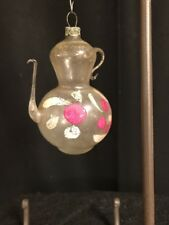Vintage Flower Handpainted Clear Teapot Christmas Ornament Hand Blown