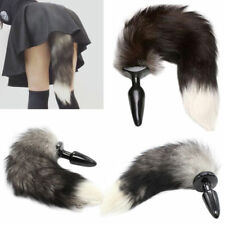Beginner Plug Anal Silicone Butt Gray Black Fox Fur Tail Stopper Cosplay Game