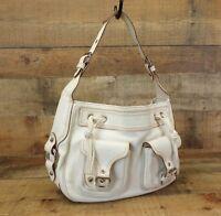 Marc Jacobs Karolina Handbag Leather Hobo Drawstring Purse Bag Buckle White