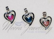 Jewellery - 18KGP Copper Double Heart Cage With a Salt Water Akoya Pearl.