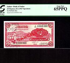 Sudan 25 Piastres 1967 P-6bs * PCGS Gem Unc 65 PPQ * Specimen *