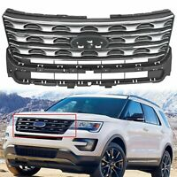 Silver Front Upper Bumper Grill Grille Factory Style For 2016 2017 Ford Explorer