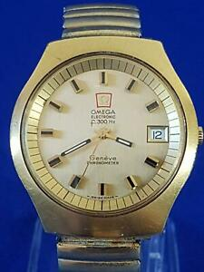 1972 Omega Electronic F300Hz Geneve Cal 1250 Quartz Mvt Gold Coloured Wristwatch