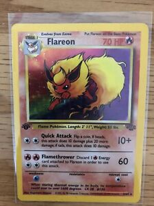 Pokemon Flareon HOLO JUNGLE 1ST EDITION 3/64 RARE LP