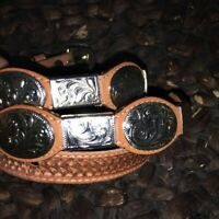 CLoTH Vintage GRANTS 1980s WESTERN CONCHO LEATHER BELT Silver Buckle, 38